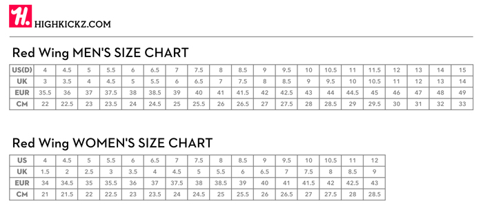 Red Wing Size Chart - Sizing red wing boots boot hto | ayUCar.com